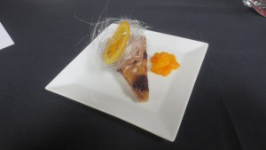 Blackberry and brown sugar tart with Madisono chocolate gelato and caramelized oranges