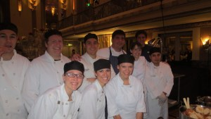 Hilton Netherland Plaza culinary team with Executive Chef Todd Kelly (in striped apron)
