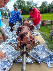 Preparing to carve the hogs