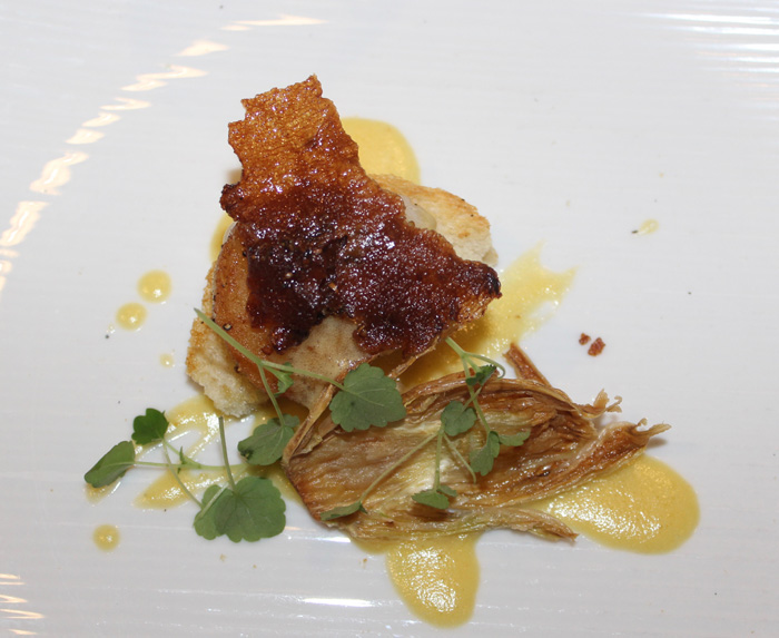 "Scallop ""Benedict"" with Smoking Goose jowl bacon"