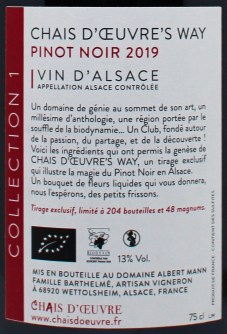 Chais d'œuvre's Way Dos