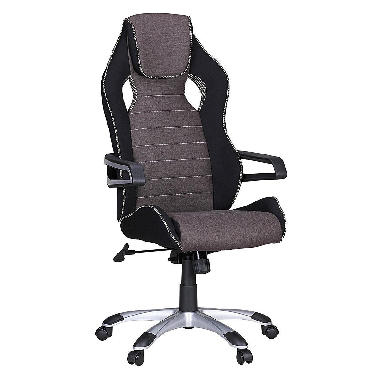 fauteuil gamer dakar pro design exclusif avec coutures en tissu noir et gris