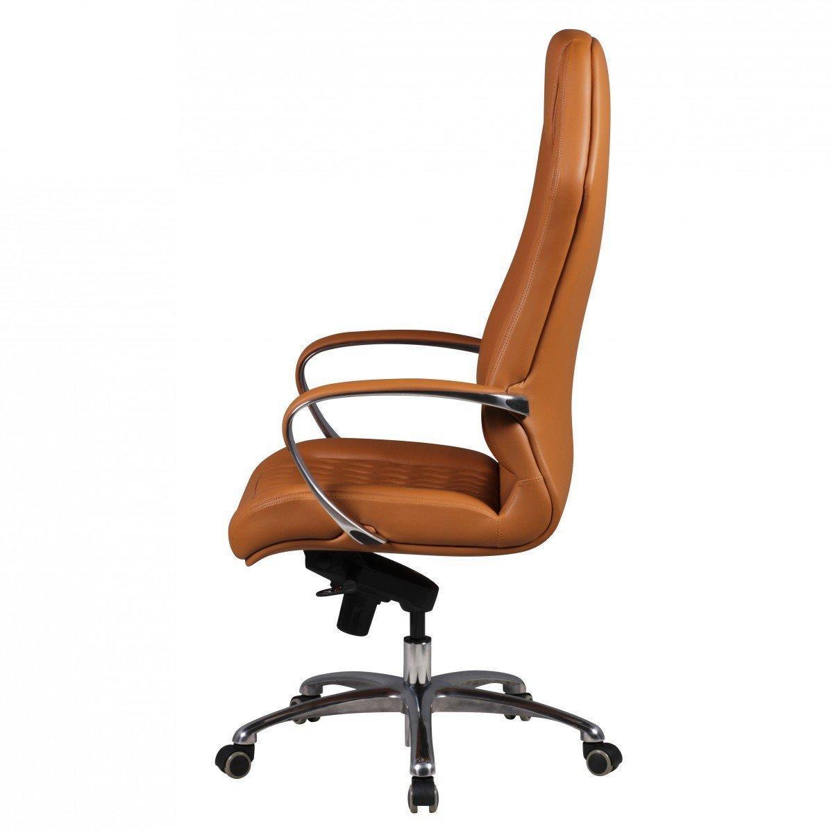 fauteuil ergonomique batura design magnifique revetement en cuir authentique marron clair