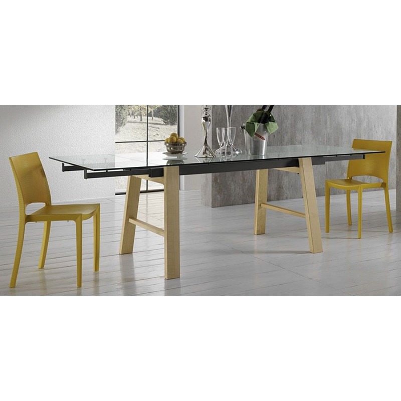 table extensible en verre et bois hornet