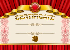 Elegant template of certificate, diploma with lace ornament, ribbon, wax seal, drapery fabric, place for text. Certificate of achievement, education, awards, winner. Vector illustration EPS 10.