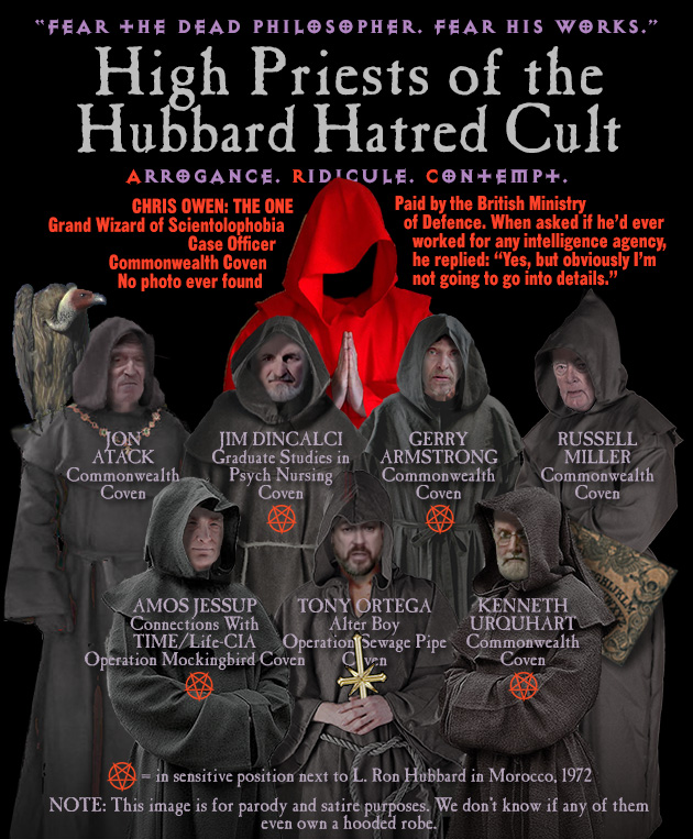 Some of the Holiest of Holies (just ask them) in the arcane arts of Hubbard Hatred: Chris Owen, Jon Atack, Jim Dincalci, Gerry Armstrong, Russell Miller, Amos Jessup, Tony Ortega, and Ken Urquhart