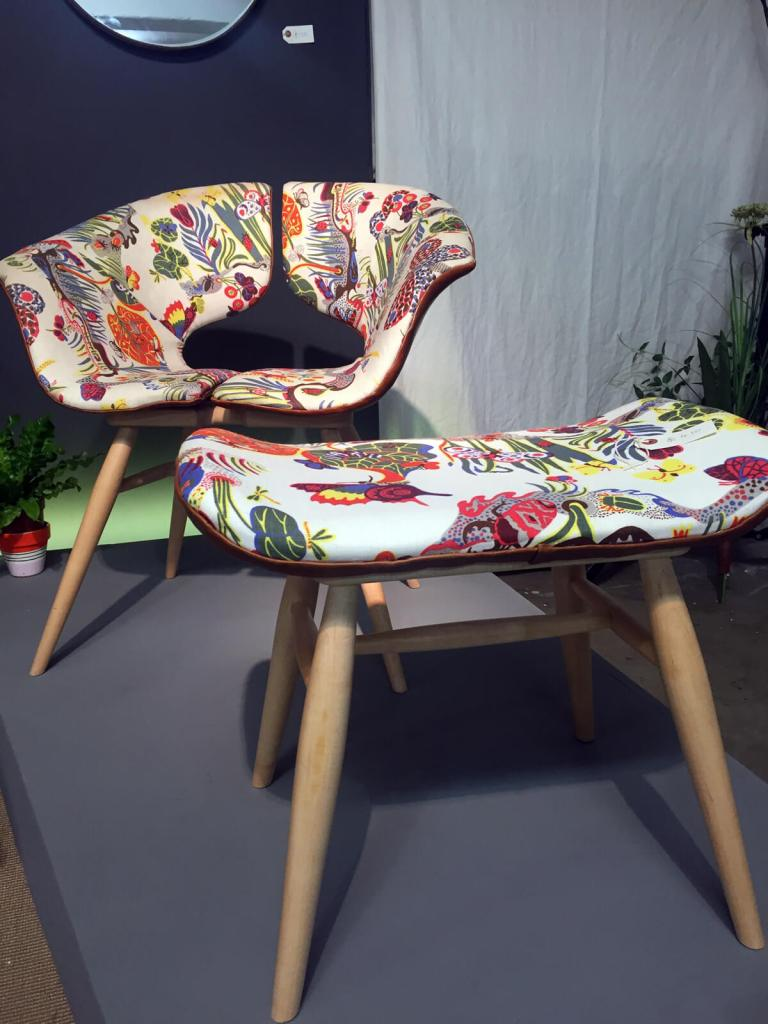 The Tortie Hoare collection at London Design Fair, part of London Design Festival. The raw materials leather and wood seen in this collection make it a great addition to biophilically designed interiors.