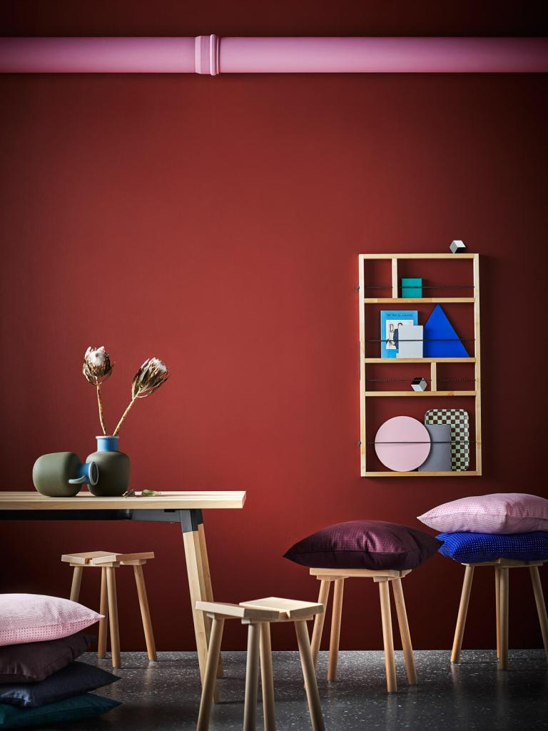 IKEA Hay collection YPPERLIG wall shelf, table, stool and cushions