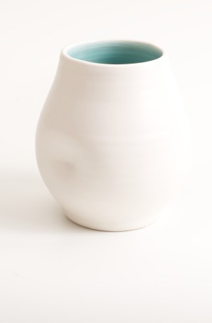 Handmade dimpled ceramic vase, hand thrown by Linda Bloomfield in London. Available with turquoise or pale blue inside. A great gift, paired with the Linda Bloomfield dimpled jug and cup.