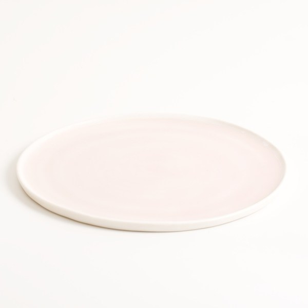 Handmade pink small porcelain plate Linda Bloomfield. Made in 3 sizes 5 colours. Hand thrown in England, dishwasher safe. These look great as part of a mix and match set. For every day dining and entertaining.
