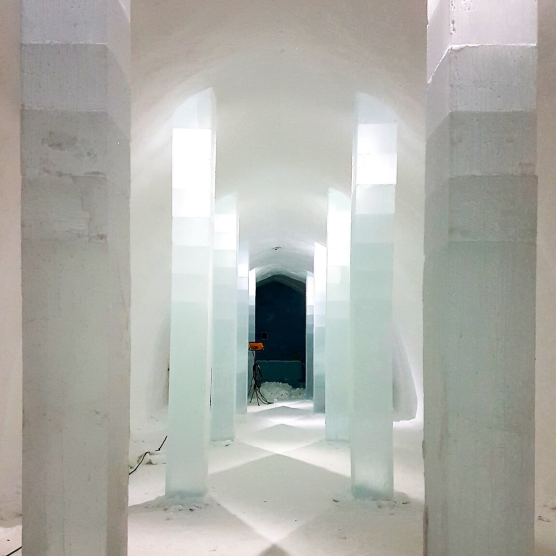The central hall entrance to the ICEHOTEL Sweden 2018. Here, 20 artists work on different rooms. Having won the design competition individually, they now work as a team to complete the hotel in time for guests arriving.