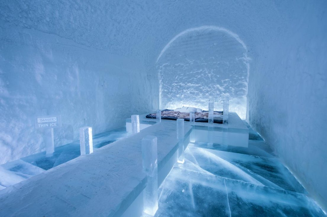 thin ice at the ICEHOTEL Sweden. The real ice outside is likely thick enough to walk on though. There you can do activities like see the Northern Lights and husky sledding.