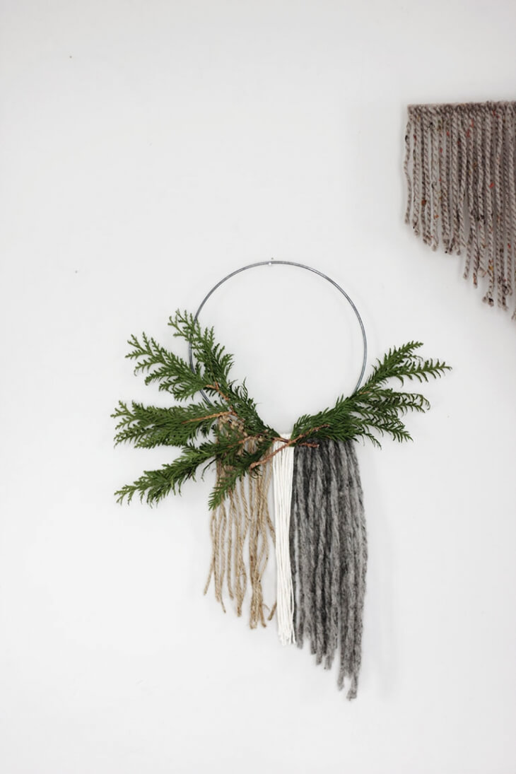 Swedish Christmas involves lots of greenery and natural materials like wool