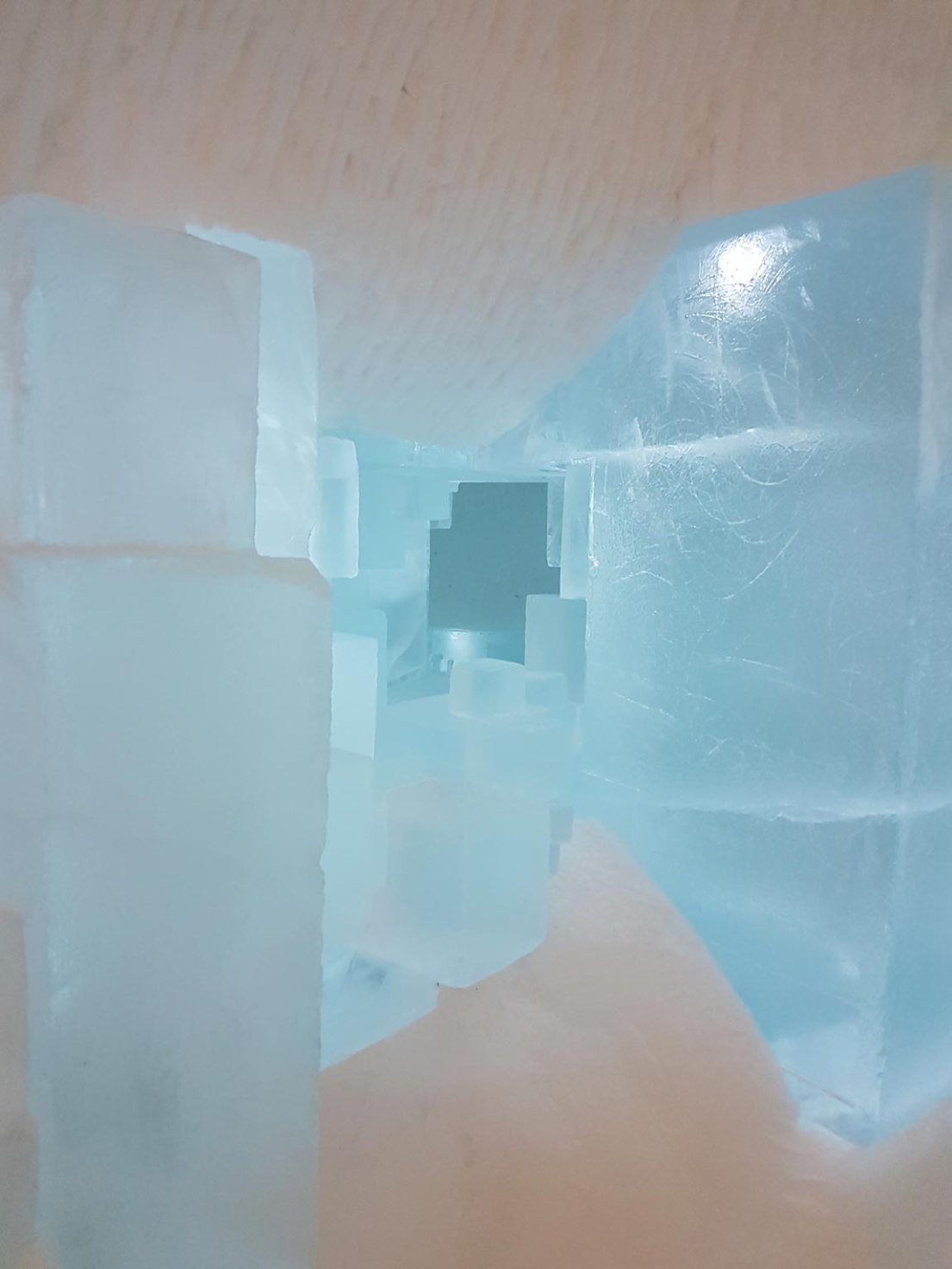 These ice blocked were cut and carved using a chain saw, which often broke in the sub zero temperatures.