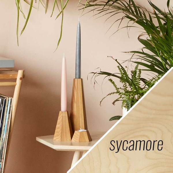 Sycamore wooden candle holders - John Eadon on Chalk & Moss