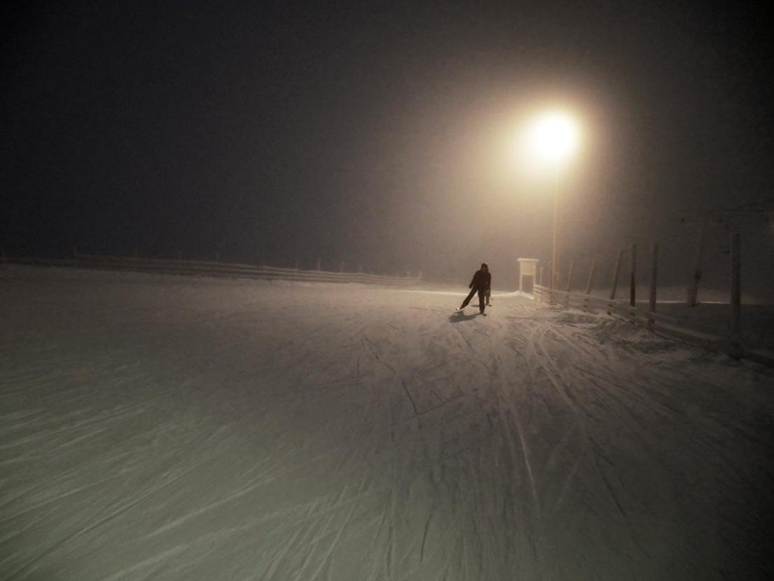 It was very foggy some days, but the flood lighting made it pretty easy to see. Night skiing is open until 6pm in Sälen, Sweden.
