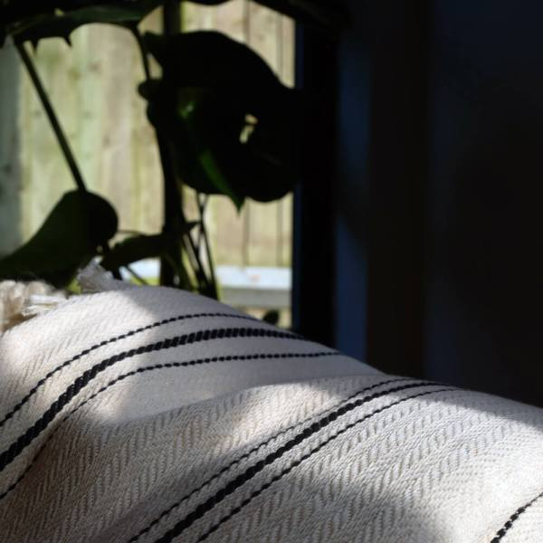 Enes large herringbone blanket, cream with black stripes. 100% cotton, 240 x 200cm.