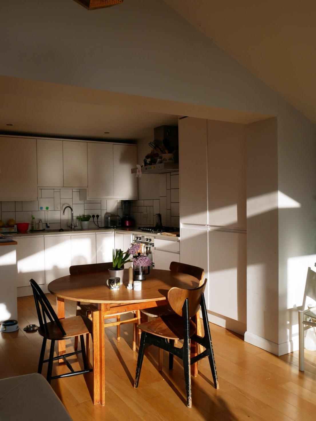 Bright breakfast table in a bright kitchen diner. Rena, a nature connected home with natural materials throughout.