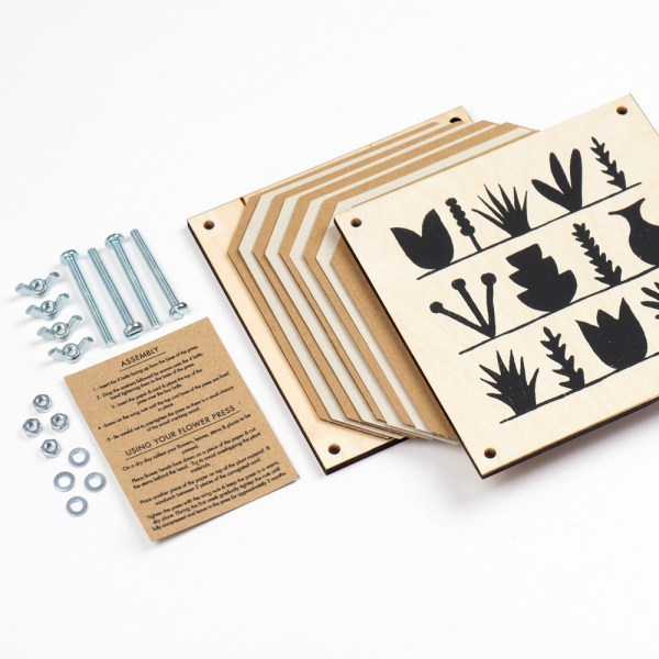 The flower press is easy to assemble at home