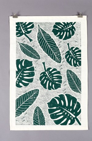 Green tea towel with a screen printed large leaf design. By Wald on Chalk & Moss (chalkandmoss.com).