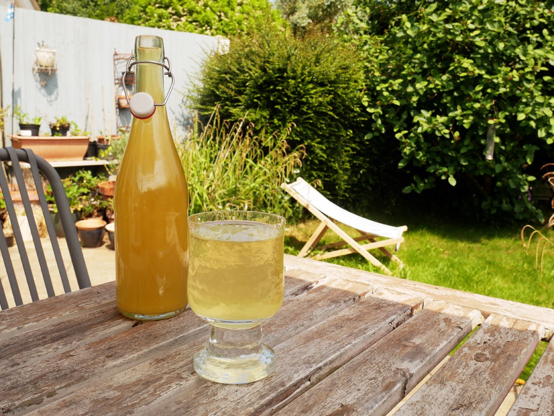 Fill your homemade elderflower cordial into glass bottles to keep it fresh for up to a year. Sterilise the bottle first by swirling neat alcohol inside then rinse with boiling water.