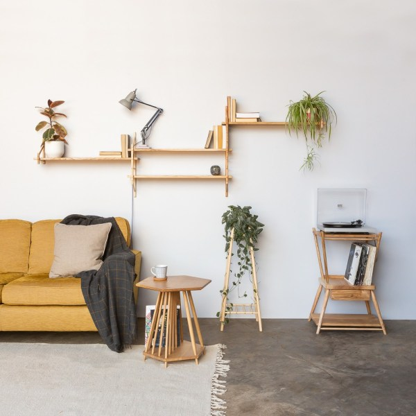 Modular shelves, that can be configured to your liking. They can be bought as components or sets, large or small. Below are the turntable stand, magazine rack table, the tall plant stand and magazine rack table. These also make great bedside tables. Hand crafted by John Eadon on the UK family farm.