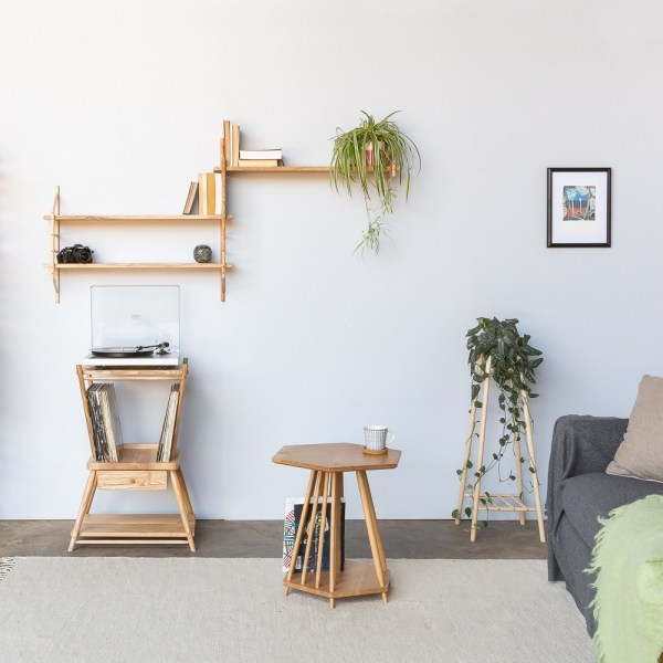 The modular shelving set can be configured as you like to fit your room and personal style. It's handmade in the UK by John Eadon, and beautifully matches the other pieces in the MIMA collection - plant stand (tall or low), magazine rack / side table and the turntable / record stand. This also works very well as a multi-level side table or bedside table.