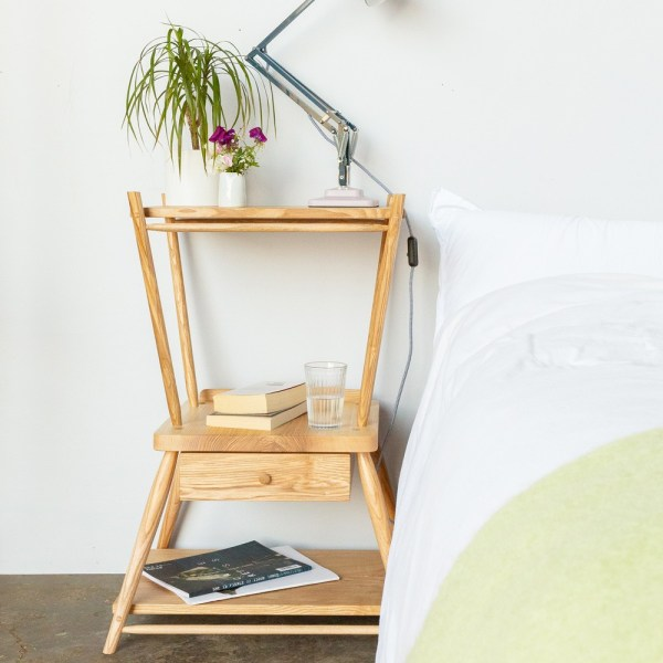 The turntable stand also makes a beautiful bedside table with multiple levels and a drawer. Handmade by John Eadon on his family farm, with traditional craft methods.
