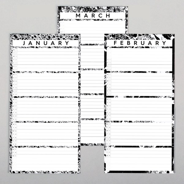 Wall calendar by Wald, in monochrome design. One month per view. W23 x H57 x D2 cm - perfect for family calendar planning! There's also a smaller wall calendar, ideal for personal use or for couples. The wall year calendar includes 3 push pins. Made from 280gsm FSC certified paper and with refill pages are available year on year, this a great sustainable choice for your annual calendar.