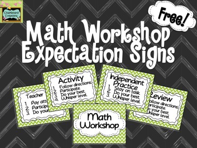 Get this great FREEBIE of Math Workshop Expectation Signs!