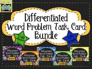 Differentiated Math Word Problem Task Card Bundle