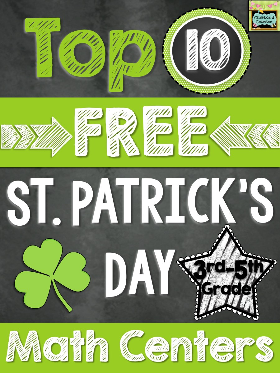Ten 10 FREE Math Centers for St. Patrick's Day (3rd-5th)