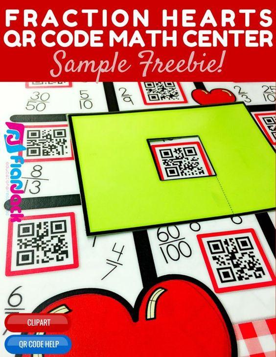Valentines day fraction hearts qr code math center