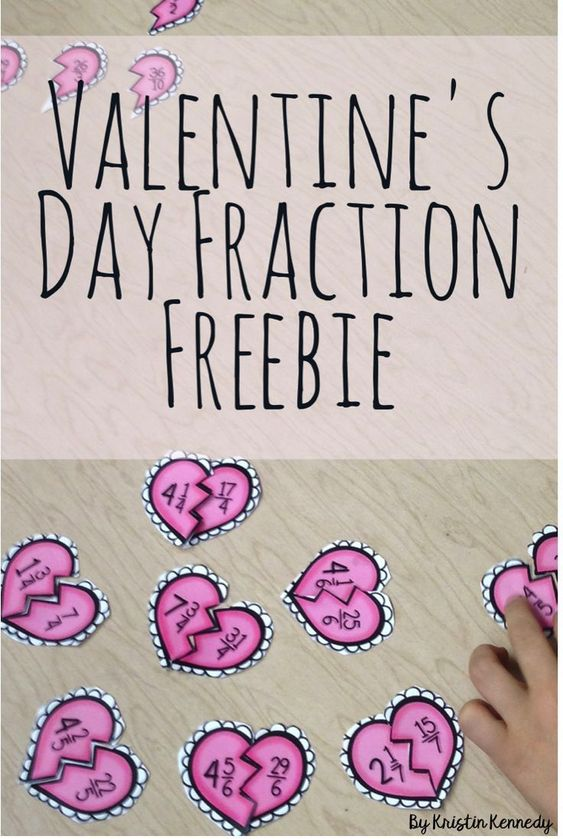 Free Fraction Valentines Day Math Center