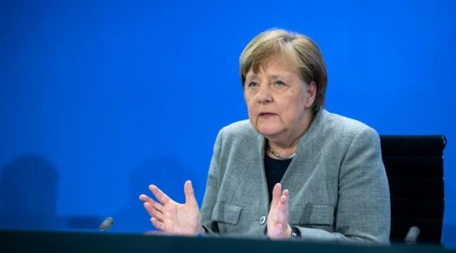 La chancelière allemande Angela Merkel s'exprime lors d'une conférence de presse, le 15 avril 2020 (POOL/AFP/Archives - Bernd von Jutrczenka)