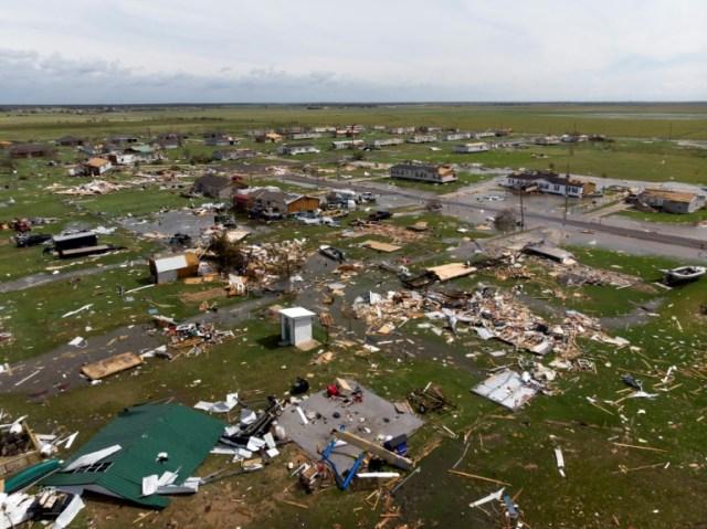Vue aérienne des dégâts causés par l'ouragan Laura, le 27 août 2020 à Lake Charles, en Louisiane (AFP/Archives - STRINGER)