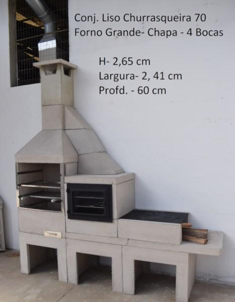 Conj. Liso + Churrasqueira 70 + Forno Grande + Chapa 4 Bocas