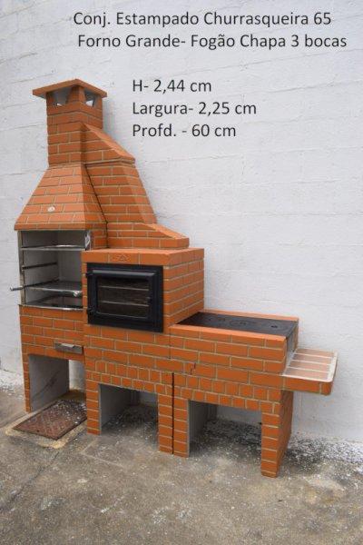 Conjunto Estampado - Churrasqueira 65 + Forno Grande + Fogão Chapa 3 Bocas