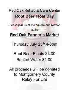 Red Oak Rehab Root Beer Float Day