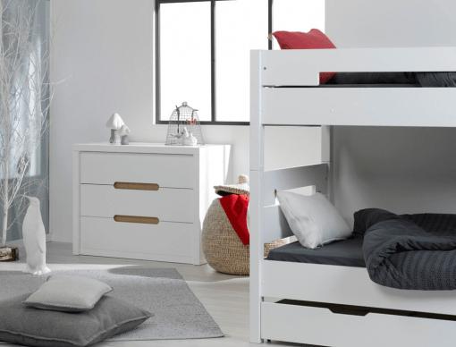 chambre enfant lits superposes milo blanc