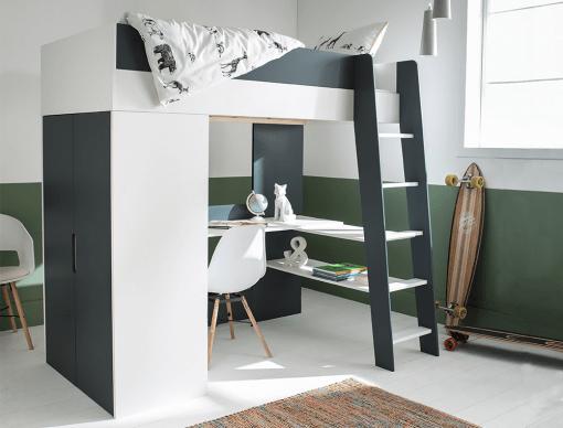 lit mezzanine armoire bureau opus blanc bleu nuit