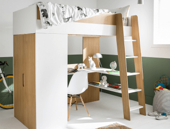 lit mezzanine armoire bureau opus blanc bois