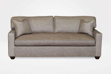 "Kendall Slipcovered Sofa, 1 Seat Cushion, 2 Style ""A"" Back Cushions, 3"" New Bun legs (dressed in Groupie - Gunmetal fabrics ) - Chameleon Fine Furniture™"