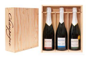 Coffret bois 3 bouteilles Champagne Mannoury
