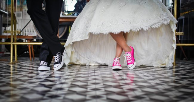 bride and groom in trainers