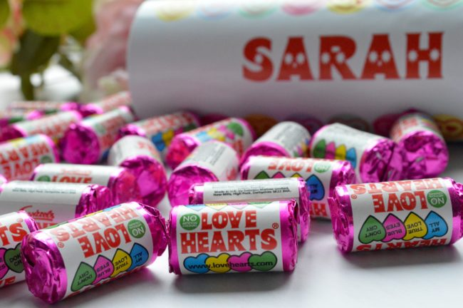 love heart sweets with personalised tube
