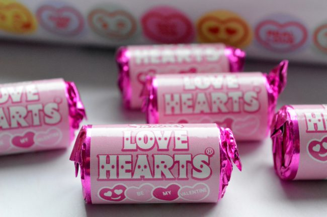 limited edition pink love heart sweets
