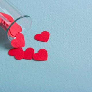 love hearts test tube