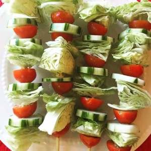 Salad Skewers with Peanut Dressing