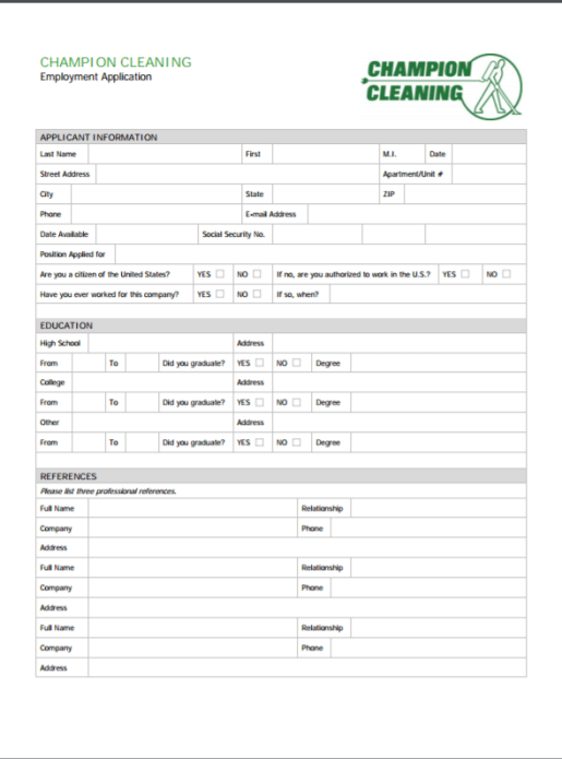 job application for champion cleaners